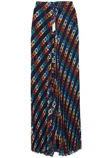 Emma Pake Woman Elizabetta Pleated Printed Voile Wide-leg Pants Indigo