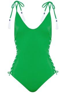 Emma Pake Woman Lace-up Swimsuit Green