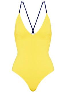 Emma Pake Woman Lace-up Swimsuit Marigold