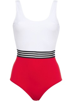 Emma Pake Woman Mesh-trimmed Two-tone Swimsuit White
