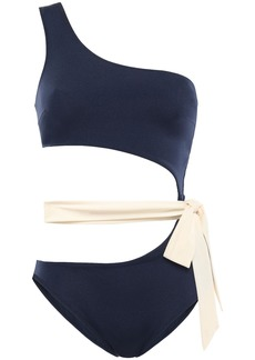 Emma Pake Woman Fabia One-shoulder Cutout Swimsuit Navy