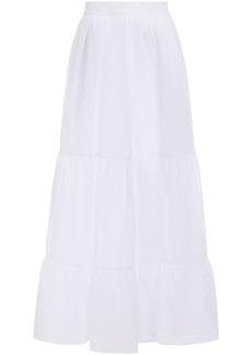 Emma Pake Woman Serafina Broderie Anglaise Cotton Maxi Skirt White