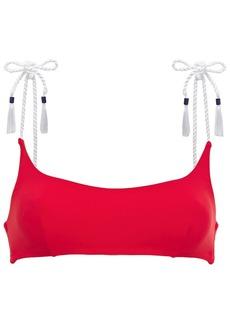 Emma Pake Woman Tasseled Bikini Top Red