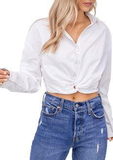 En Saison Poplin Cropped Twist-Front Shirt