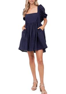 Women's En Saison Cotton Eyelet Babydoll Minidress