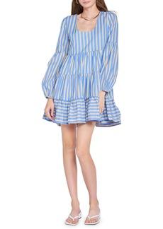 Women's En Saison Stripe Tiered Long Sleeve Babydoll Dress