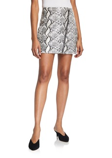 Endless Rose Asymmetric Zip Front Snake Skin Mini Skirt