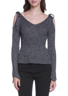Endless Rose Cold-Shoulder Ribbed Sweater