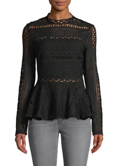 Endless Rose Crocheted Lace Peplum Top