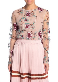 Endless Rose Embroidered Floral Mesh Top