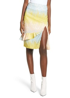 Endless Rose Colorblock Side Slit Sequin Skirt