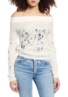 Endless Rose Embroidered Off the Shoulder Sweater