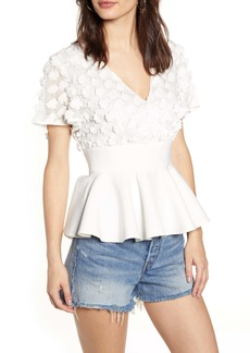 Endless Rose Floral Appliqué Peplum Blouse