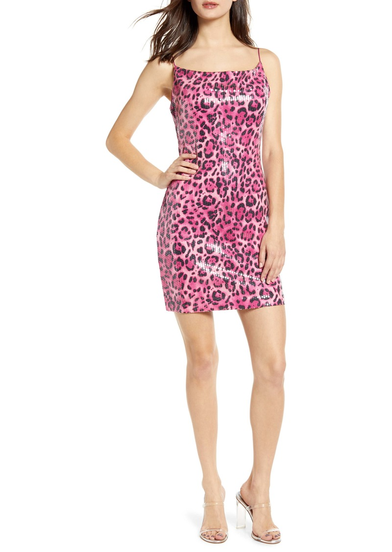Endless Rose Leopard Pattern Sequin Body-Con Dress