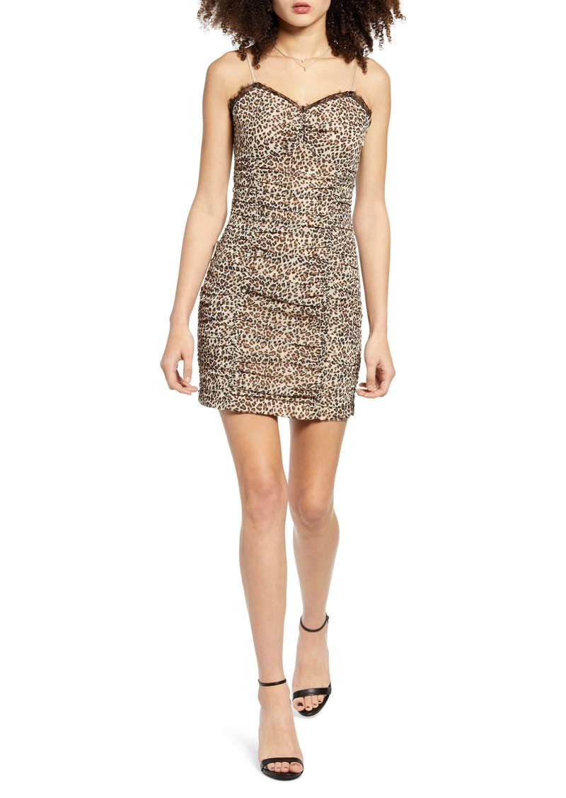 Endless Rose Leopard Print Ruched Sleeveless Dress
