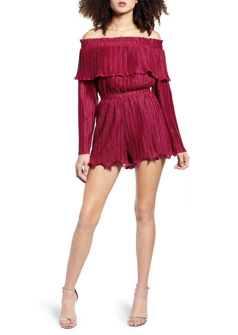 Endless Rose Metallic Pleat Off the Shoulder Romper