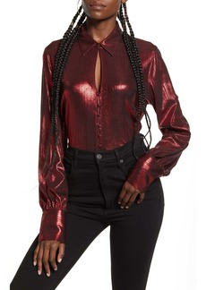 Endless Rose Metallic Textured Button-Up Blouse