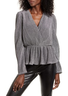 Endless Rose Metallic Wrap Front Long Sleeve Blouse