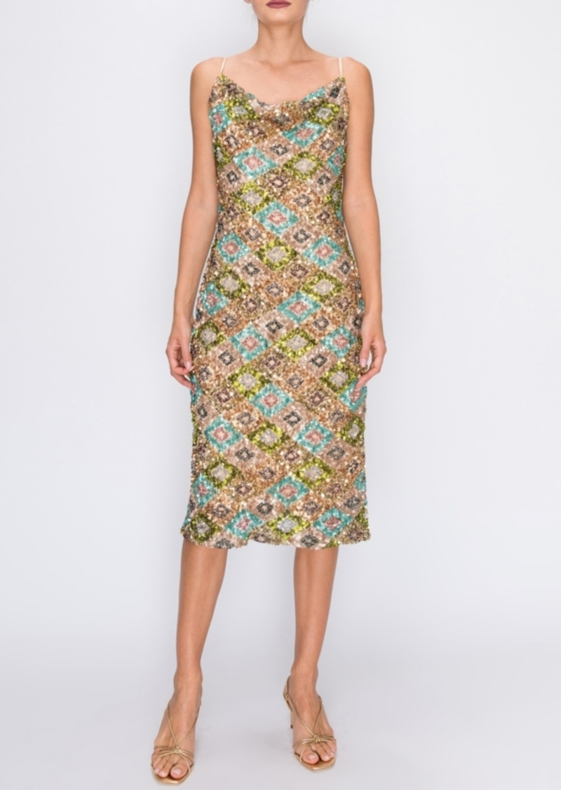 Endless Rose Multi Sequin Cowl Neck Cami Dress