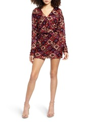 Endless Rose Multi Sequin Long Sleeve Wrap Minidress