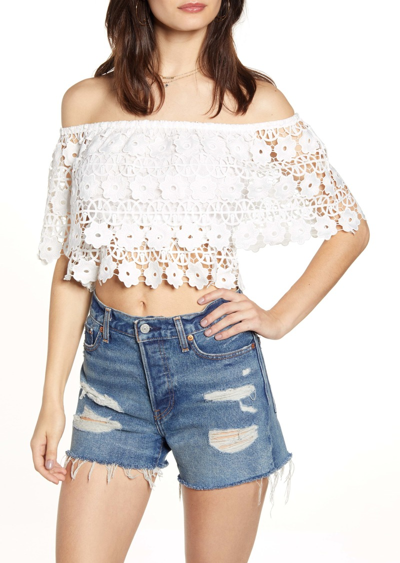 Endless Rose Off the Shoulder Lace Crop Top