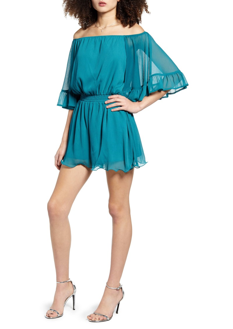 Endless Rose Off the Shoulder Ruffle Sleeve Romper