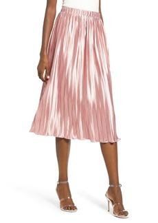 Endless Rose Pleated Satin Midi Skirt