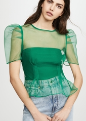 endless rose Puff Sleeve Sheer Top