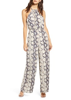 Endless Rose Python Pattern Halter Neck Jumpsuit