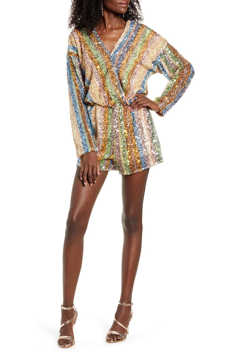 Endless Rose Rainbow Sequin Stripe Romper
