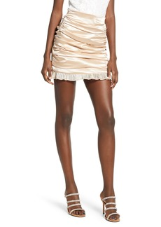 Endless Rose Ruched Satin Miniskirt