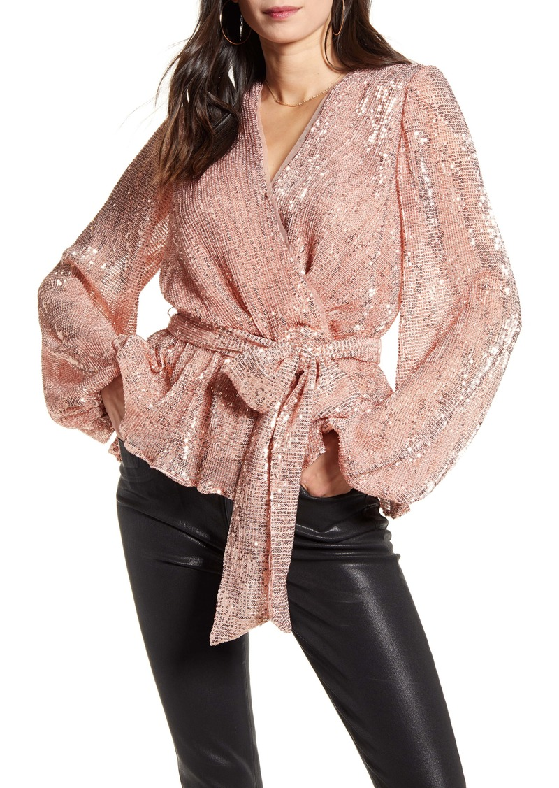 Endless Rose Sequin Belted Blouse