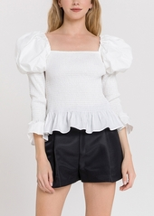 endless rose Smocked Top with Puff Shoulder