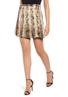 Endless Rose Snake Print Pleated Miniskirt