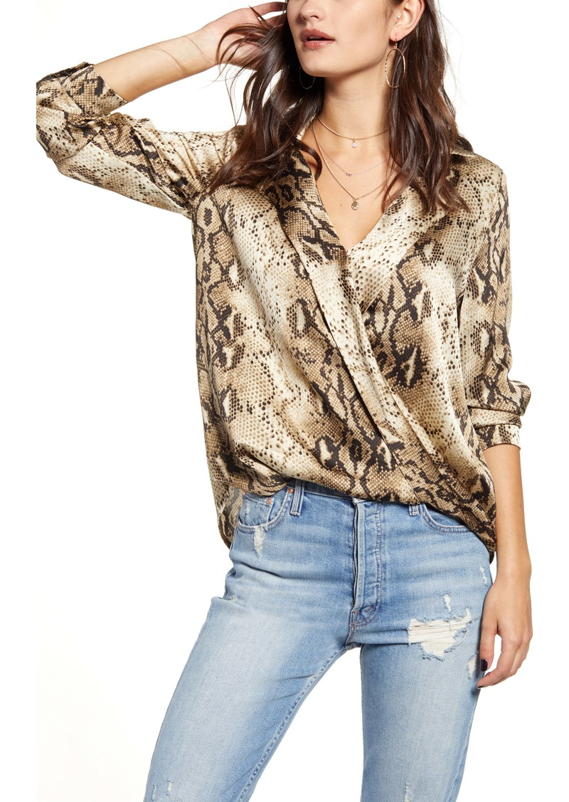 Endless Rose Snake Print Wrap Blouse