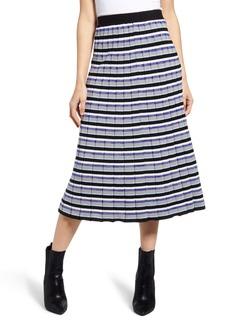Endless Rose Sunburst Stripe Pleated Sweater Skirt