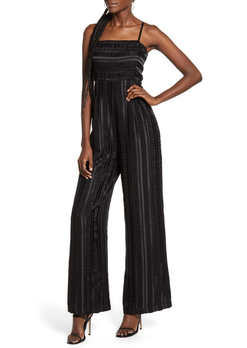 Endless Rose Tonal Pucker Stripe Jumpsuit