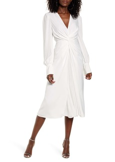 Endless Rose Twist Front Long Sleeve Midi Dress