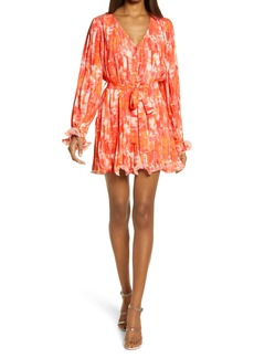 Endless Rose Watercolor Print Pleated Long Sleeve Fit & Flare Dress