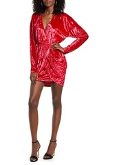 Endless Rose Wrap Front Long Sleeve Crushed Velvet Minidress
