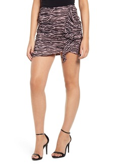 Endless Rose Zebra Print Ruched Miniskirt