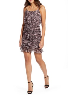 Endless Rose Zebra Print Ruffle Detail Minidress
