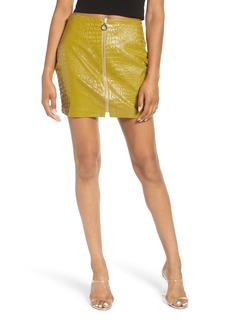 Endless Rose Zip Front Croc Embossed Miniskirt