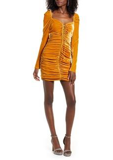 Endless Rose Ruched Long Sleeve Velvet body-Con Dress