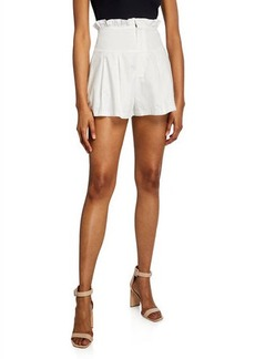 Endless Rose High-Waist Pleated Cotton Poplin Shorts