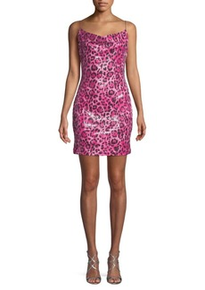 Endless Rose Leopard-Print Sequin Mini Dress