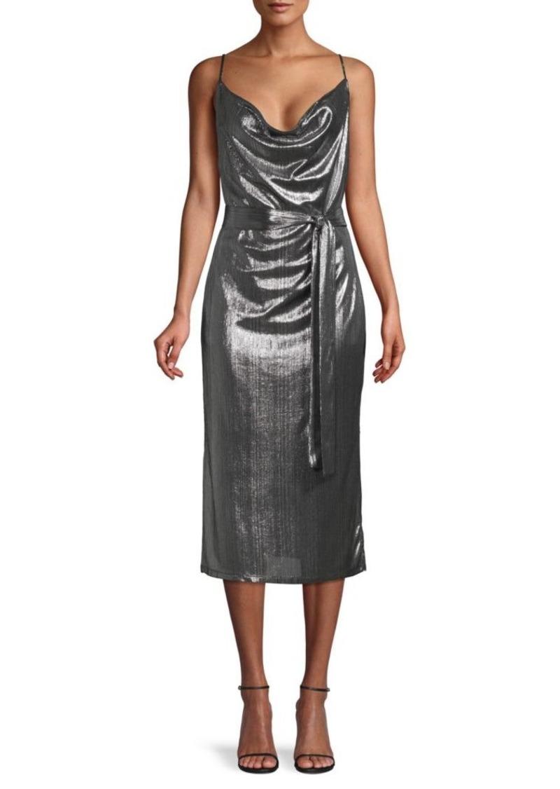 Endless Rose Metallic Tie-Waist Dress
