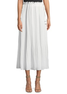 Endless Rose Pleated Crushed-Satin Maxi Skirt