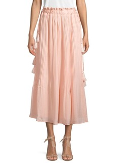 Endless Rose Pleated Tassel Maxi Skirt