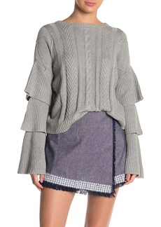 Endless Rose Ruffled Layer Sleeve Cable Knit Sweater